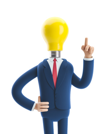 Businessman Billy with yellow bulb. Innovation and inspiration concept. 3d illustration.