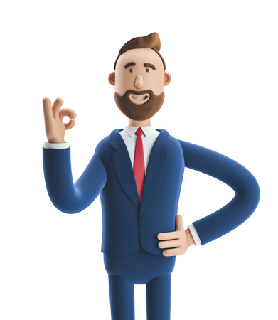 Cartoon character businessman Billy shows okay or OK gesture. 3d illustration Stock Photo