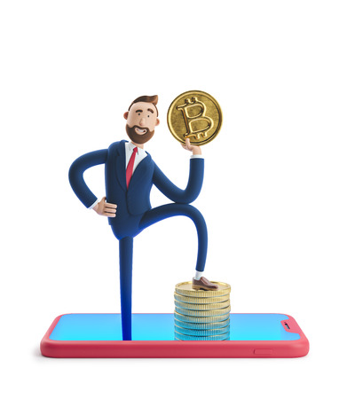 Cartoon character Billy with bitcoin. Mobile banking concept. Online Bank. Cryptocurrency. 3d illustration