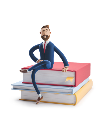 Cartoon character beard businessman Billy is sitting on a stack of books. The concept of business education. 3d illustration