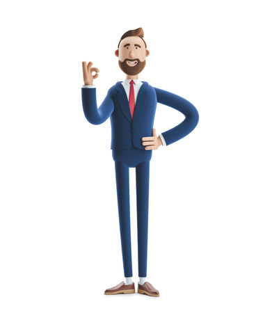 Cartoon character businessman Billy shows okay or OK gesture. 3d illustration Zdjęcie Seryjne