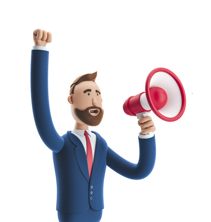 Cartoon character Billyshouting through loud speaker. 3d illustration Zdjęcie Seryjne