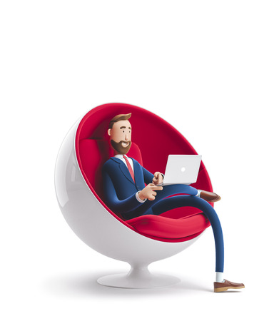 Handsome cartoon character Billy sitting in an egg chair with laptop. 3d illustration Zdjęcie Seryjne