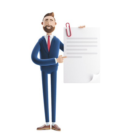 Handsome cartoon character Billy holds a completed document. 3d illustration Stock Photo