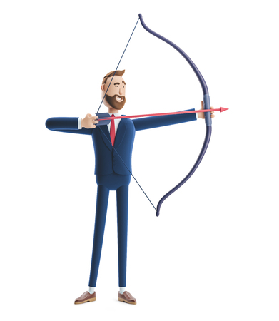 Cartoon character businessman Billy aiming with bow and arrow. 3d illustration Zdjęcie Seryjne