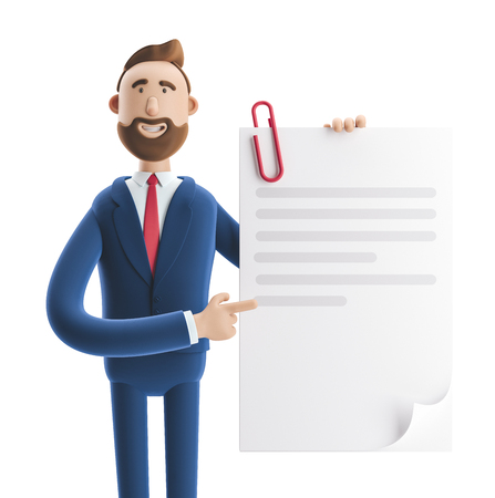 Handsome cartoon character Billy holds a completed document. 3d illustration Zdjęcie Seryjne