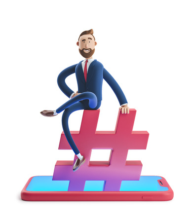 Cartoon character Billy Billy sitting on a hashtag icon. The concept of social media. 3d illustration Stok Fotoğraf