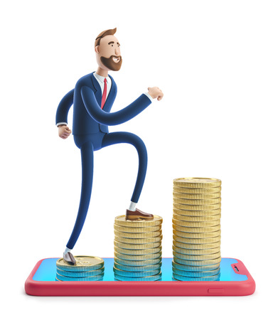 Cartoon character Billy goes to success. 3d illustration. Concept of financial growth. Money on smartphone, coin holding