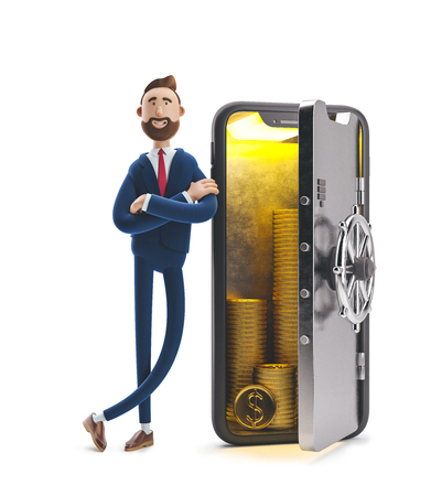 Cartoon character Billy stand with a telephone in the form of a safe. Mobile banking concept. Online Bank. 3d illustration Zdjęcie Seryjne