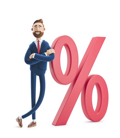 Cartoon character Billy and big percent icon. Concept business interest rate. 3d illustration