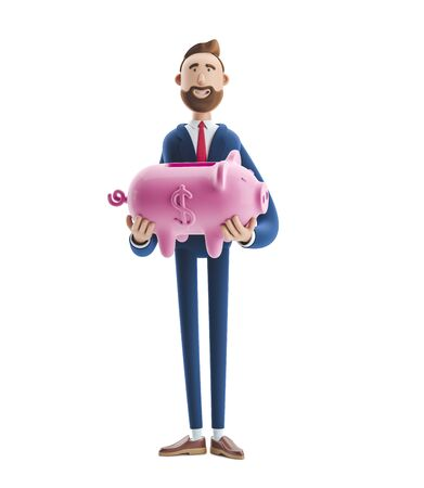 Portrait of a handsome cartoon character with piggy bank. Safe money storage concept. 3d illustration Stock Photo