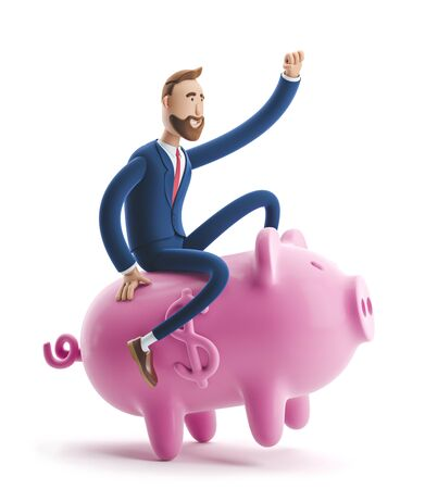 Portrait of a handsome cartoon character with piggy bank. Safe money storage concept. 3d illustration Reklamní fotografie