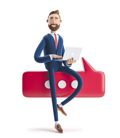 Conversation concept.Portrait of a handsome businessman with laptop and bubble talk. 3d illustration Stock Photo