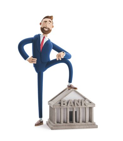 Portrait of a handsome cartoon character with bank building. Banking concept.. 3d illustration Stock Photo