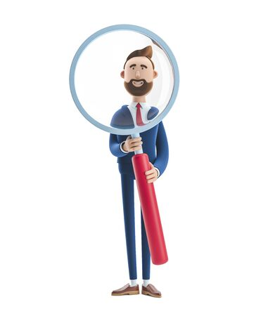 Portrait of a handsome cartoon character with magnifier.. 3d illustration