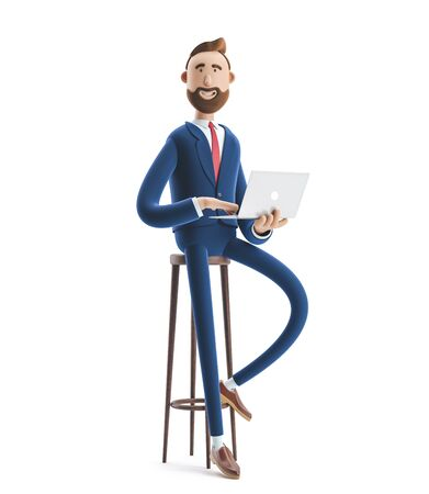 Portrait of a handsome cartoon character with laptop. 3d illustration Stock Photo
