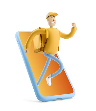 Delivery guy in yellow uniform stands with the big bag. 3d illustration. Cartoon character. Express online delivery concept.