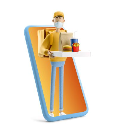 Delivery guy in medical mask and yellow uniform stands with fastfood and big phone. 3d illustration. Cartoon character. Safe online delivery concept.