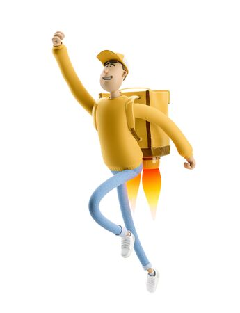 Delivery guy flies on jetpack with urgent order in yellow uniform stands with the big bag. 3d illustration. Cartoon character. Express delivery concept.