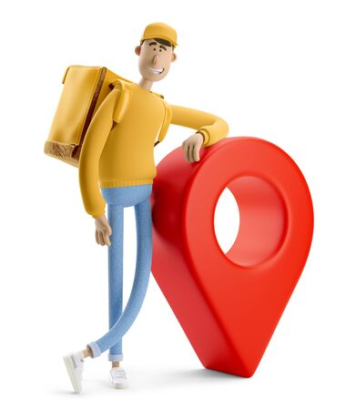 Delivery guy in yellow uniform stands with the big bag and a red pin. 3d illustration. Cartoon character. Reklamní fotografie