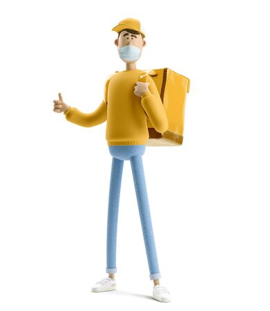 Delivery guy in medical mask and yellow uniform stands with the big bag. 3d illustration. Cartoon character. Safe delivery concept. Reklamní fotografie