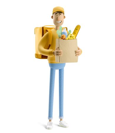 Delivery guy with grocery bag in yellow uniform stands with the big bag. 3d illustration. Cartoon character.