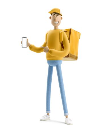 Delivery guy in yellow uniform stands with the big bag and phone. 3d illustration. Cartoon character. Online delivery concept.