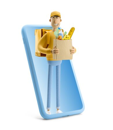 Delivery guy with grocery bag in yellow uniform stands with big phone. 3d illustration. Cartoon character. Express online delivery concept.