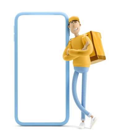 Delivery guy in yellow uniform stands with the big bag and big phone. 3d illustration. Cartoon character. Express online delivery concept.