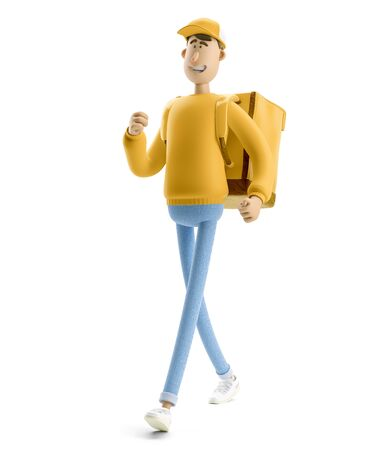 Delivery guy underway in yellow uniform stands with the big bag. 3d illustration. Cartoon character. Express delivery concept. Reklamní fotografie