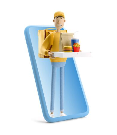 Delivery guy in yellow uniform stands with fastfood and big phone. 3d illustration. Cartoon character. Express online delivery concept. Reklamní fotografie