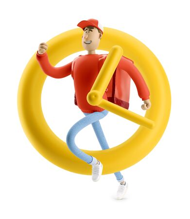 Delivery guy in yellow uniform stands with the big bag. 3d illustration. Cartoon character. Express delivery concept.