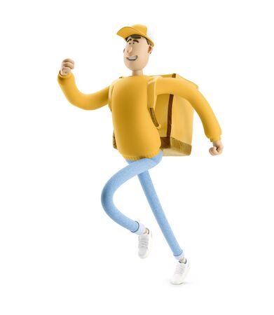 Delivery guy is running to take a rush order in yellow uniform stands with the big bag. 3d illustration. Cartoon character. Express delivery concept.