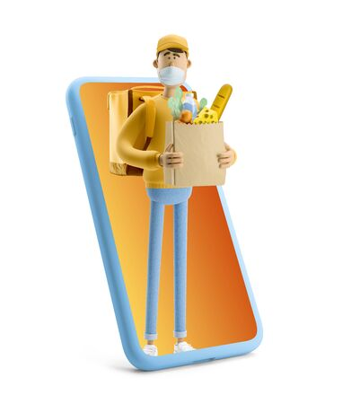Delivery guy with grocery bag in medical mask stands with big phone. 3d illustration. Cartoon character. Express online delivery concept. Reklamní fotografie