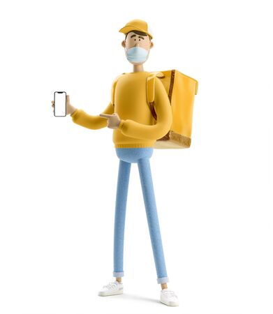 Safe delivery concept. Delivery guy in medical mask and yellow uniform stands with the big bag and phone. 3d illustration. Cartoon character. Online delivery concept.