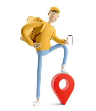 Delivery guy holding a phone in yellow uniform stands with the big bag and a red pin. 3d illustration. Cartoon character. Reklamní fotografie