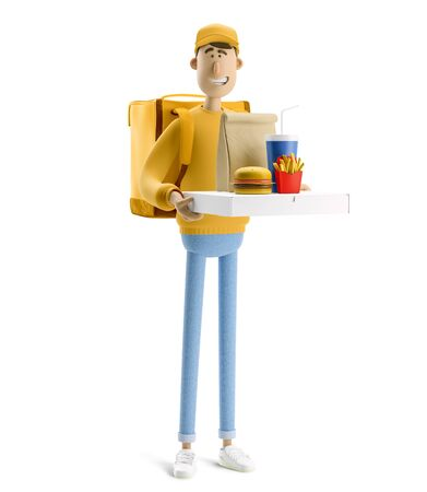 Delivery guy with pizza and fastfood in yellow uniform stands with the big bag. 3d illustration. Cartoon character.