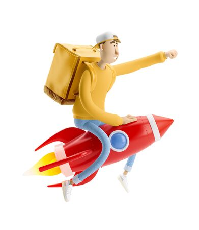 Delivery guy flies on a rocket with urgent order in yellow uniform stands with the big bag. 3d illustration. Cartoon character. Express delivery concept.