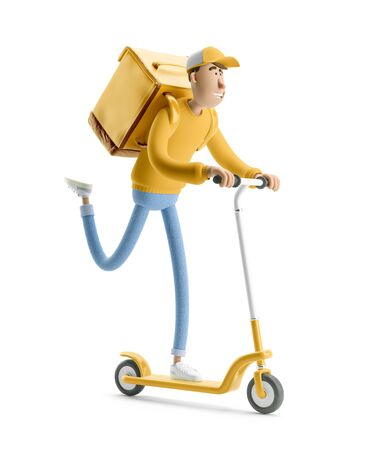 The courier in yellow uniform is in a hurry to deliver the order on a scooter. 3d illustration. Cartoon character. Express delivery concept. Reklamní fotografie