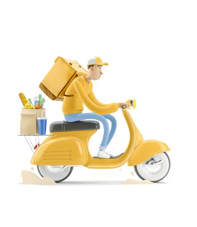 The courier in yellow uniform is in a hurry to deliver the order on a motor bike. 3d illustration. Cartoon character. Express delivery concept.