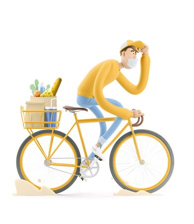 The courier in a mask and yellow uniform  is in a hurry to deliver the order on a bike. 3d illustration. Cartoon character. Safe delivery concept.