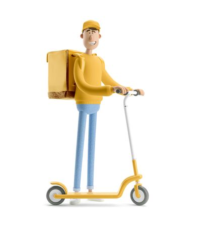 Delivery guy in yellow uniform stands with the big bag and a scooter. 3d illustration. Cartoon character. Express delivery concept.