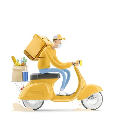 The courier in medical mask and yellow uniform is in a hurry to deliver the order on a motor bike. 3d illustration. Cartoon character. Safe delivery concept. Reklamní fotografie