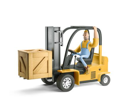 Deliveryman in overalls carries cargo in a large wooden box on a forklift. 3d illustration. Cartoon character.