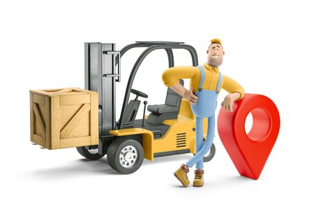 Deliveryman in overalls standing next to a forklift and big pin. 3d illustration. Cartoon character.