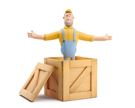 Deliveryman in overalls jumps out of a wooden box. 3d illustration. Cartoon character.