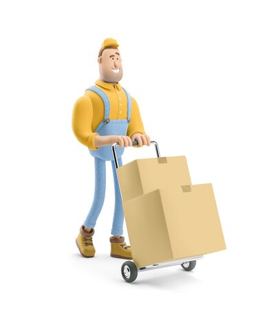 Courier carries a cart with parcels. 3d illustration. Cartoon character. Reklamní fotografie
