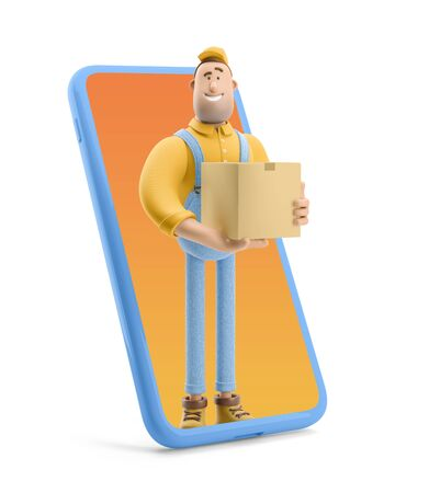 Online delivery Concept. Deliveryman in overalls standing inside the phone and  holds a box with a parcel. 3d illustration. Cartoon character. Reklamní fotografie
