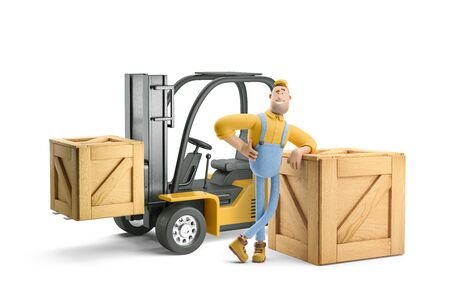 Deliveryman in overalls standing next to a forklift. 3d illustration. Cartoon character. Reklamní fotografie