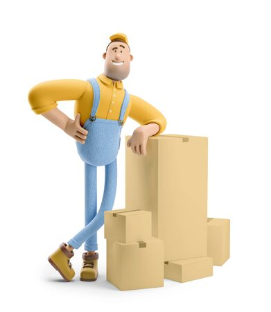 Deliveryman in overalls is standing with a bunch of parcels. 3d illustration. Cartoon character. Reklamní fotografie
